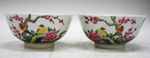 Pair of Chinese Porcelain Cherry Blossom Bowls