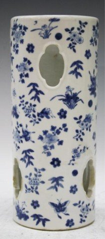 Chinese Blue & White Porcelain Hat Stand w Flowers