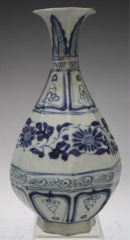 Chinese Blue & White Porcelain Floral Vase Ming