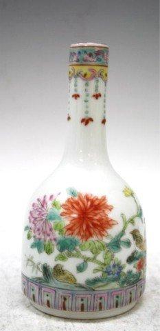 Chinese Porcelain Bottleneck Vase w/ Bird & Flower