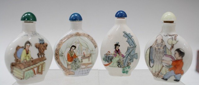 4 Chinese Porcelain Snuff Bottles w/ Calligraphy