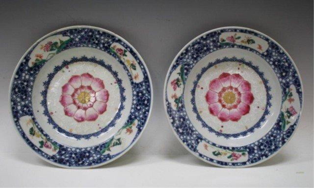 Pair of Chinese Porc. Lotus Flower Plates 19th C