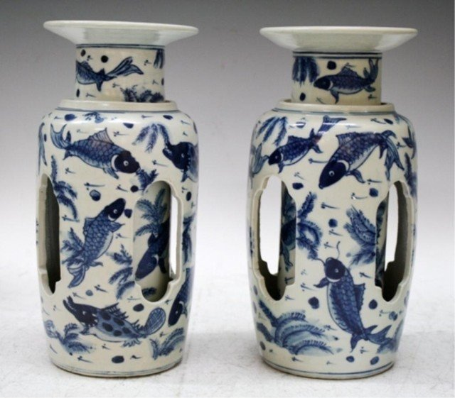 Chinese Pair of Blue & White Porcelain Turn Vases