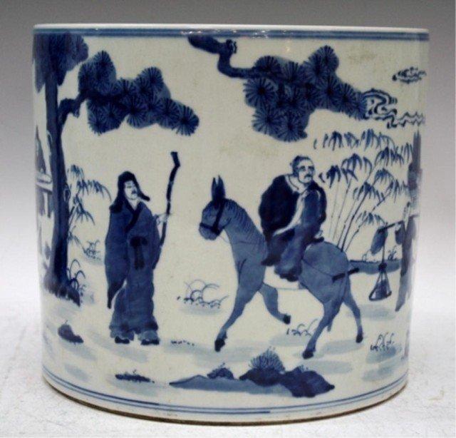 Large Chinese Blue & White Porcelain Brushpot