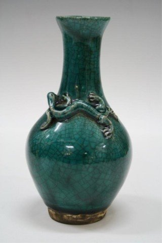Chinese Blue-Green Porcelain Vase w/ Dragon