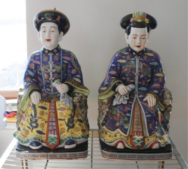 Pair of Chinese Porcelain Emperor & Empress