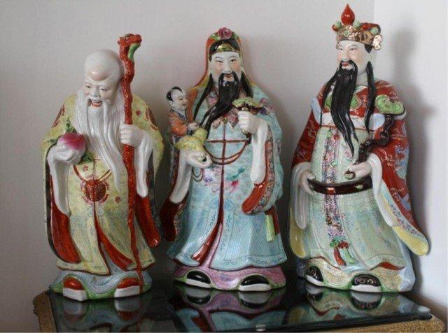 Set of 3 Chinese Porcelain Emperor & Elder Figures