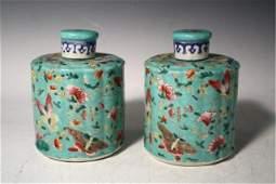 Pair of Chinese Famille Rose Tea Caddies 20th C.