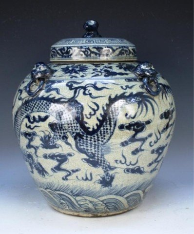 Ming Dyn. Chinese Blue & White Covered Dragon Jar