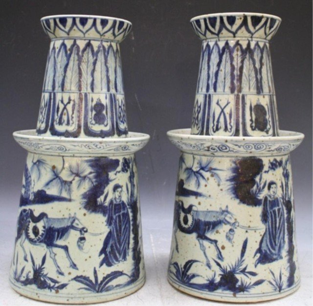 Chinese Pair Blue & White Porcelain Candle Holders