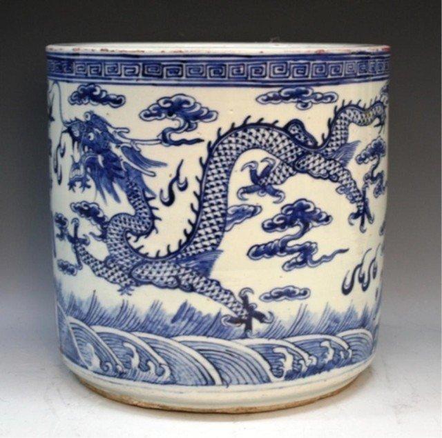 Chinese Blue & White Planter w/ Dragons