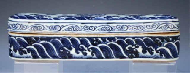 Chinese Blue & White Porcelain Jewelry Box