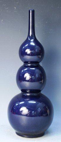 Chinese Cobalt Blue Porcelain Triple Gourd Vase