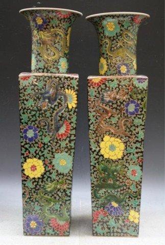 Chinese Pair Large Famille Verte Square Vases
