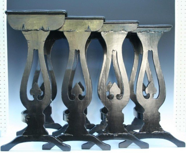 Chinese Export Lacquer Nesting Tables 19th C.