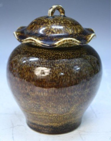 Chinese Porcelain Covered Jar w/ Tea Dust Glaze