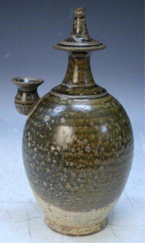 Chinese Ming Dyn. Ceramic Jar w/ Tea Dust Glaze