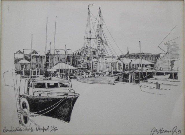 """R.E. Kennedy """"Bannister's Wharf"""" Lithograph 1981"""
