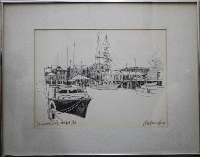 """R.E. Kennedy """"Bannister's Wharf"""" Lithograph 1981 - 2"""