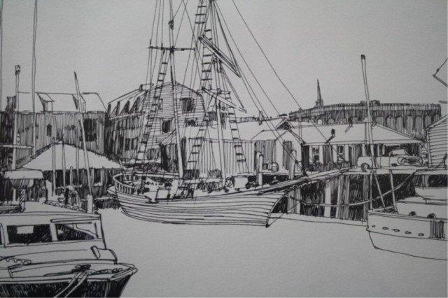 """R.E. Kennedy """"Bannister's Wharf"""" Lithograph 1981 - 5"""