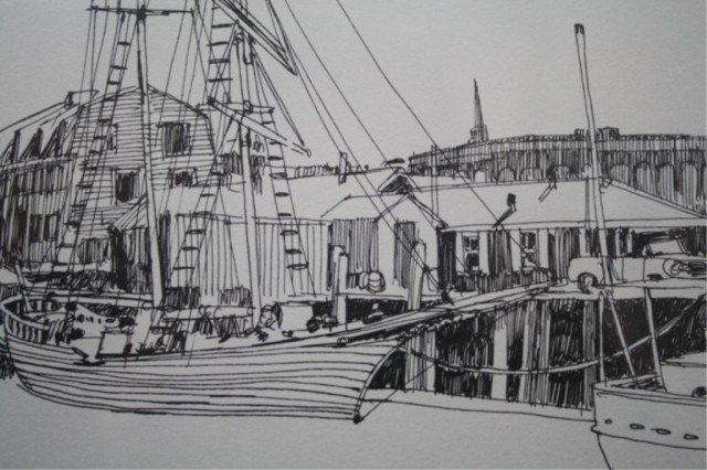 """R.E. Kennedy """"Bannister's Wharf"""" Lithograph 1981 - 6"""