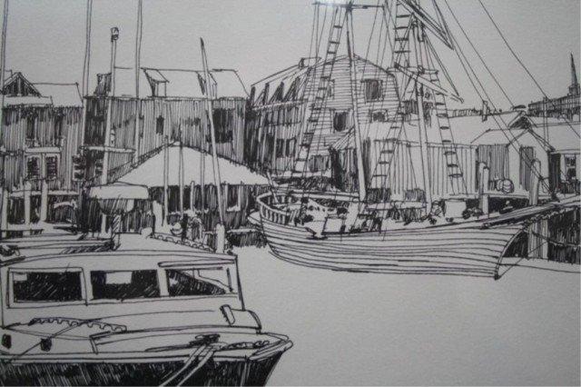 """R.E. Kennedy """"Bannister's Wharf"""" Lithograph 1981 - 7"""