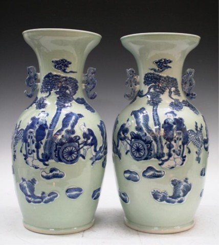 Chinese Pair of Large Handled Porcelain Vases