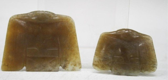Chinese Lot of 2 Archaistic Hongshan Jade Birds
