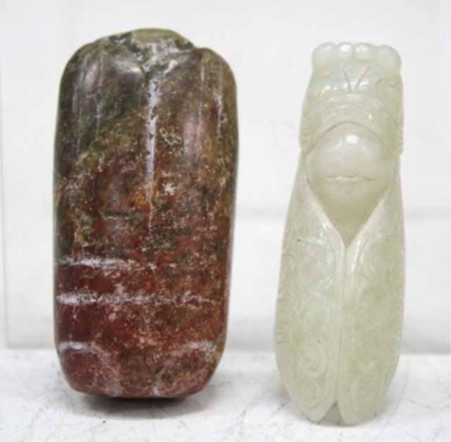 Chinese Lot of 2 Archaistic Hongshan Jade Cicadas