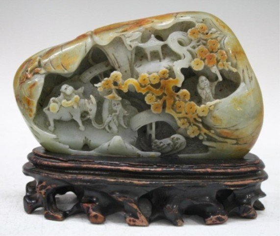 Chinese Carved Jade Mountain Landscape w/ Stand