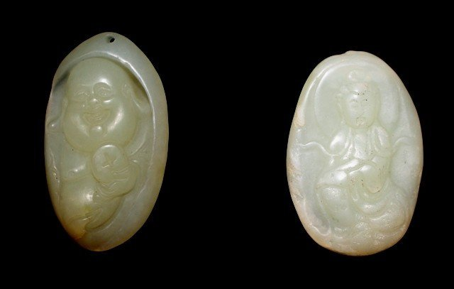 Lot of 2 Hetian Jade Buddha Pendants