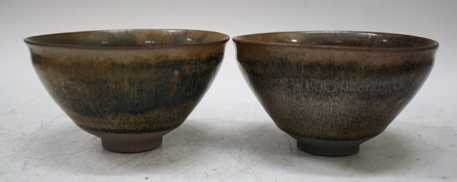 Chinese Pair Gray Body Pottery Hare's Fur Bowls