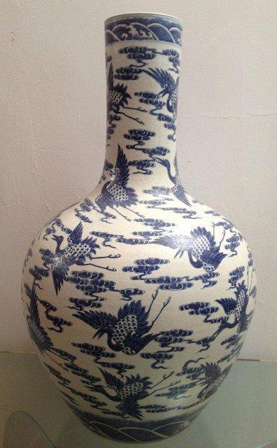 Large Chinese Blue and White Vase with Kangxi Mark