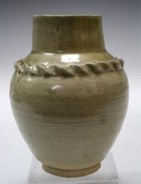 Chinese Beige Glazed Vase w/ Scalloped Trim