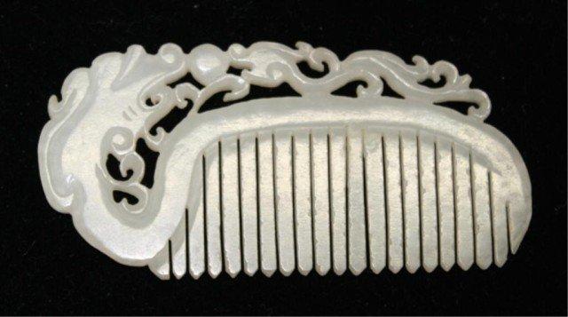 Chinese White Jade Comb w/ Dragon