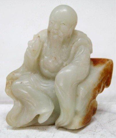 Chinese Jade Carved Figurine Elder on Rock