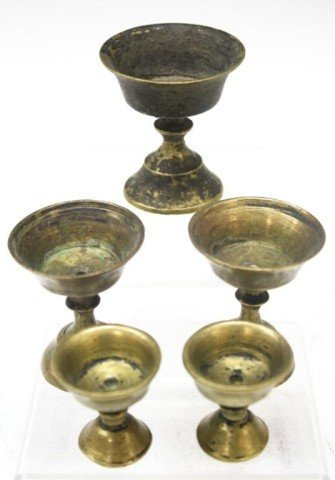 Nepalese Set of 5 Brass Oil Lamps