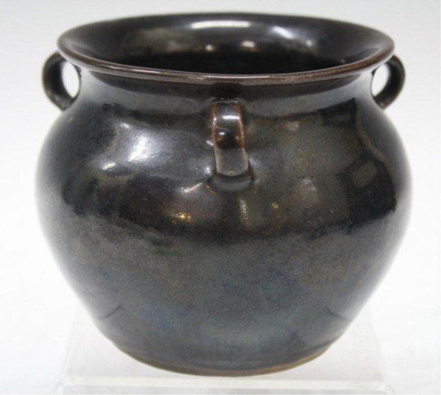 Chinese Dark Ware 3 Handled Bowl w/ Crackle