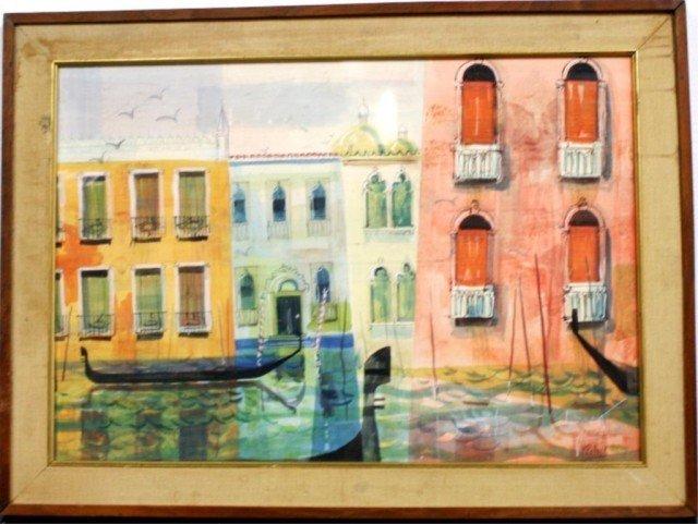 M.Pollack Watercolor of Venetian Canal Scene