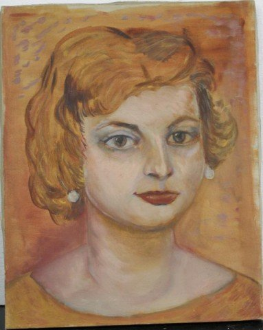 Portrait of Young Woman with Orange Background