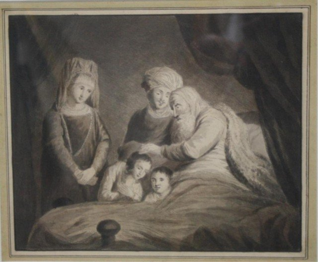 Drawing or Etching of Dying Man, Unknown Artist