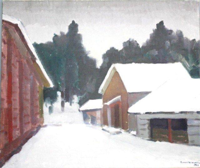 Scandinavian Tuomas Nelimarkka Oil Painting 1956