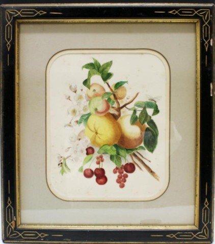 Framed Watercolor Still Life of Fruit