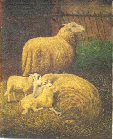 Oil on Mattress Cloth Painting poss. 19th Century