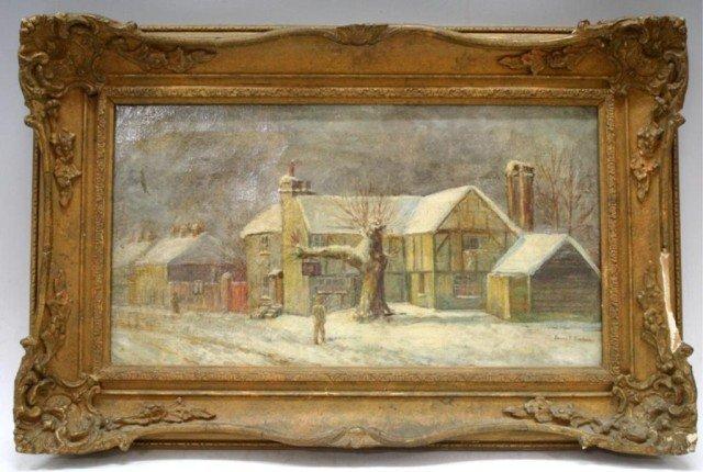 Village Winter Scene Oil on Canvas, Signed Banker