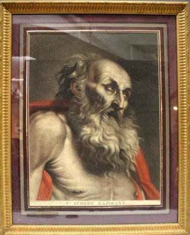 """""""St. Jerome Expirant"""" Engraving, Framed"""