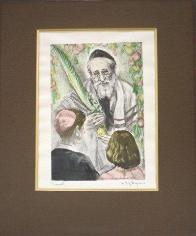 "Ida Dengrove Print Rabbi with Children ""Succoth"""