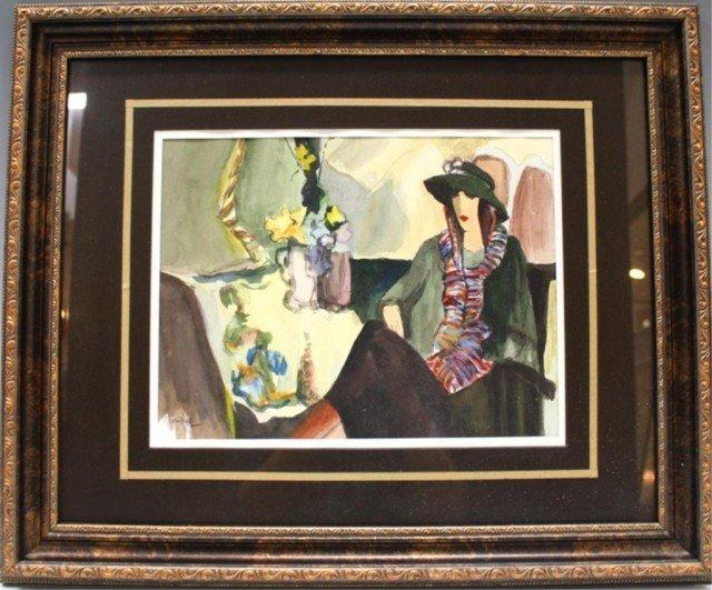 Itzchak Tarkay Ink & Watercolor Woman w/ Scarf