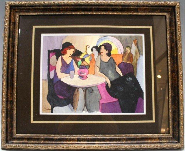 Itzchak Tarkay Ink & Watercolor Women at Cafe