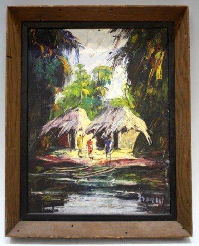 Haitian Oil on Board Village Scene Painting